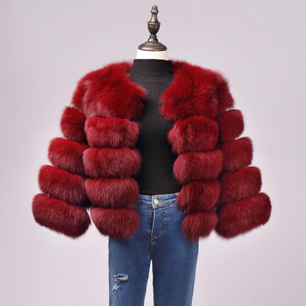 Fox Fur Slim Short Stitching Fur Coat ?