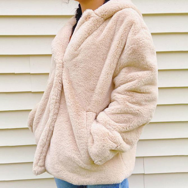 Fashion Solid Color Rabbit Fur Long Sleeve Hooded Coat