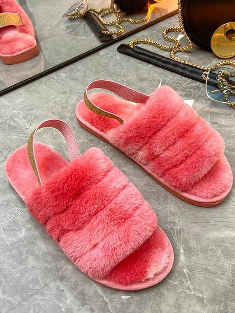 Plush cotton slippers house shoes