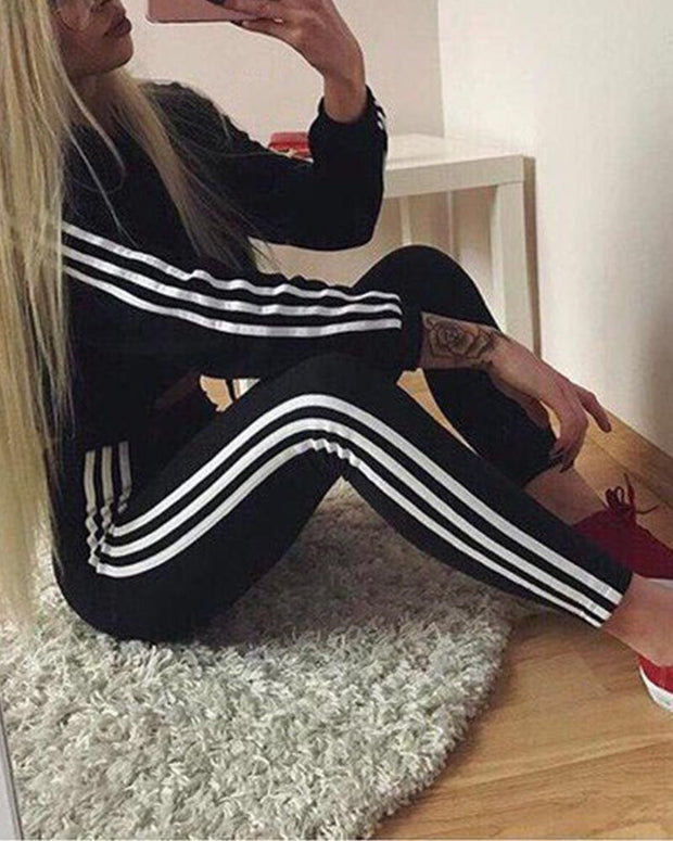Striped Sweatshirt Pants Sports Sets
