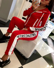 Colorblock Letter Print Hoodie & Pants Set