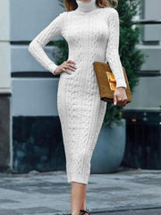 High neck slim knitted midi dress