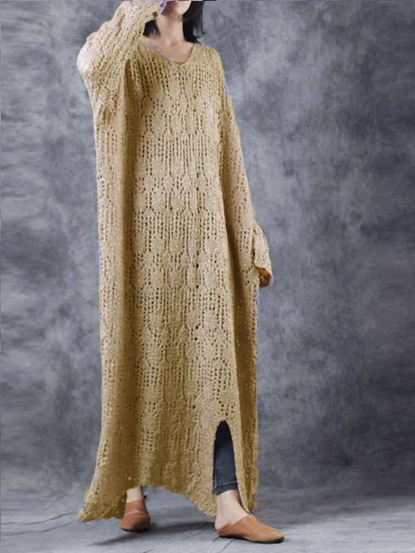Solid Color Openwork Knit Dress