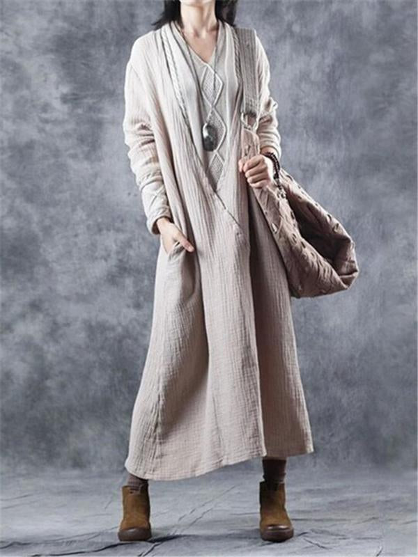 Casual Quilted Cotton Linen Stitching Sweater Dresses