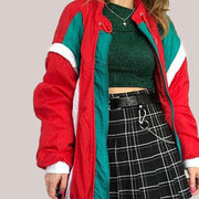 Red and green retro trench coat