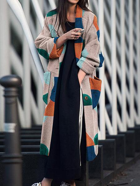 Fashion lapel print long sleeve coat
