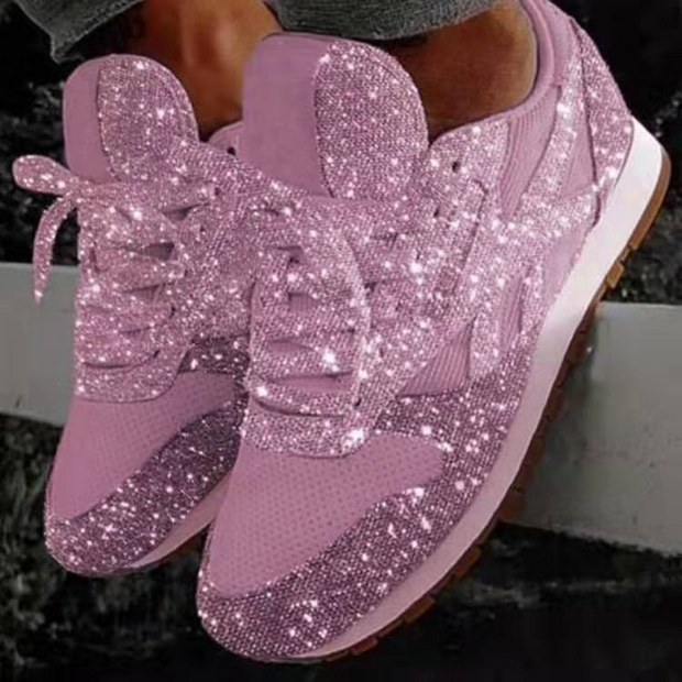 Ladies Bling sneakers 2020 fall new casual flat women vulcanized shoes wearable lace sneakers outdoor