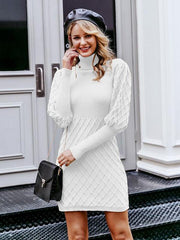 Lantern sleeve pullover casual knitted dress
