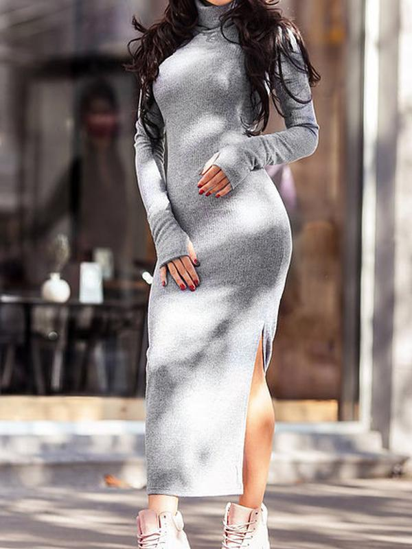 Lapel knitted bag hip maxi dress