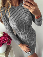 Round Neck Above Knee Long Sleeve Regular Pullover Dress