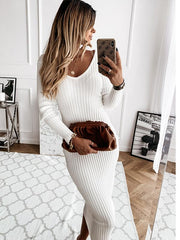 Knit long sleeve sexy dress