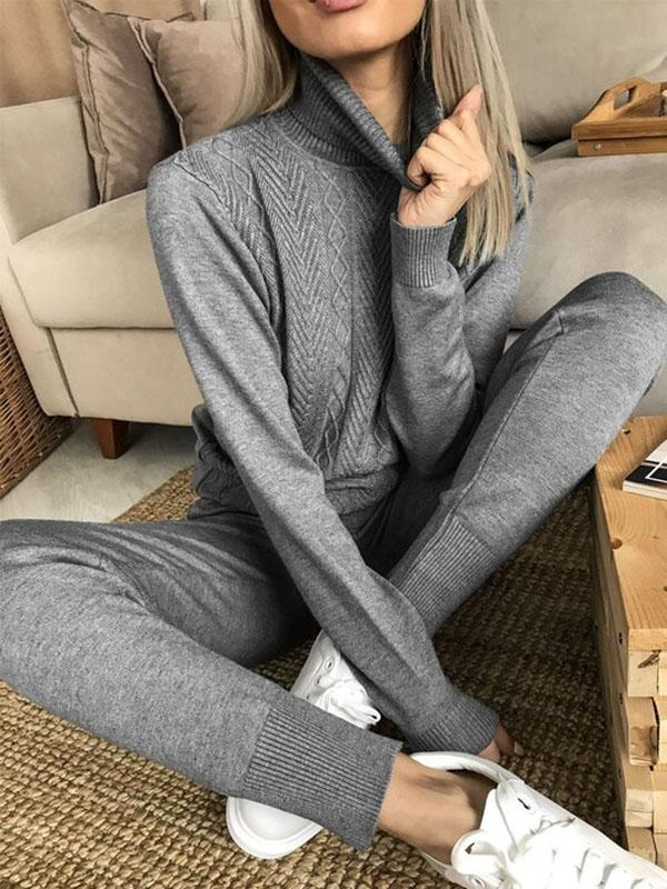 High Neck Autumn and Winter Knitted Suit