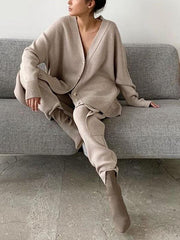 Comfortable Loose Button Top and Trouser Suit