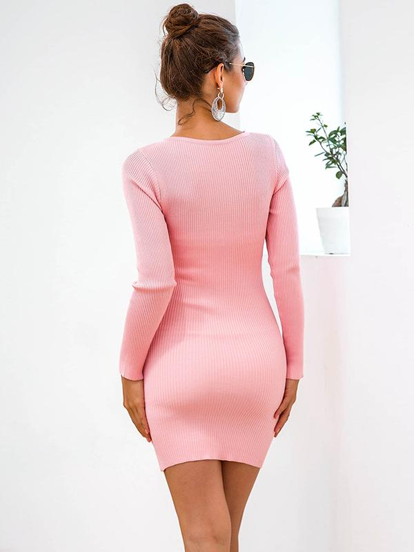 Casual knitted V-neck sexy wrap-around sweater dress