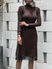 Fashion casual knitted skirt and lace sweater dress