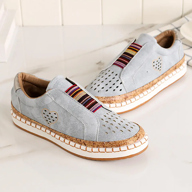 Hollow round head love casual ladies sneakers