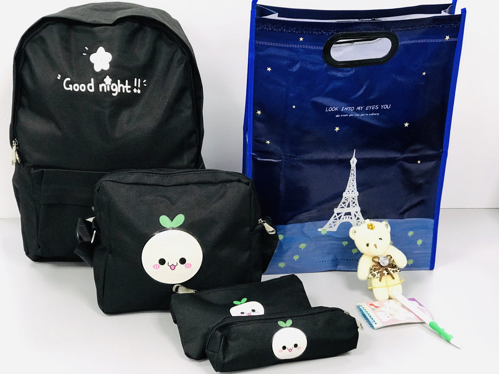 Good Night Backpack with shoulder bag and pencil case - Grey
