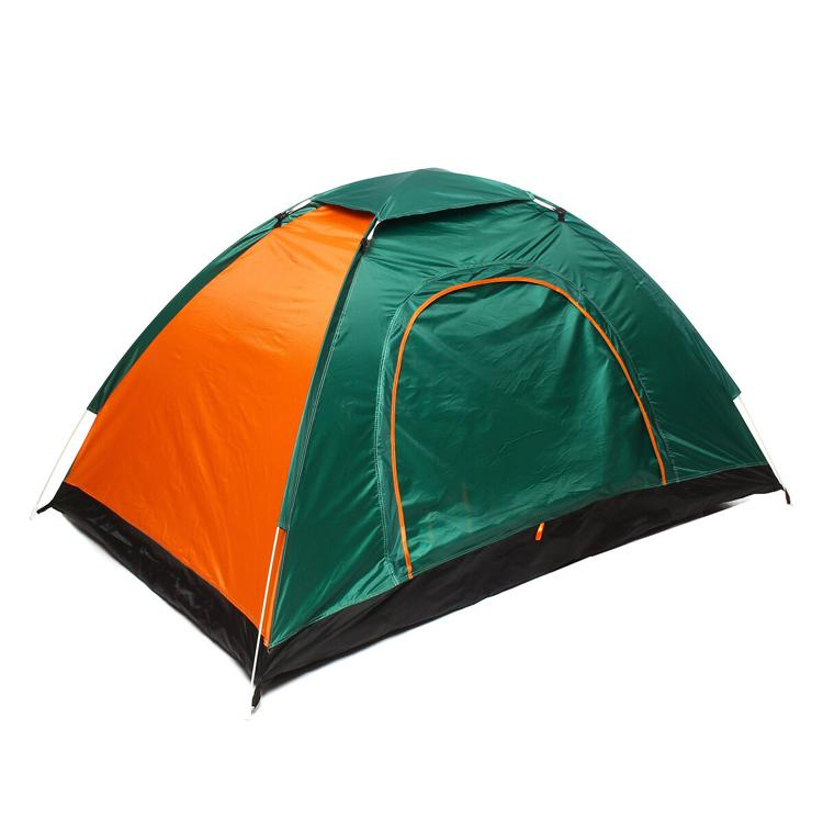 green and orange tent