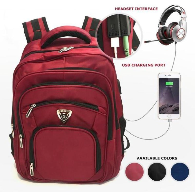 Laptop Backpack With USB Charging and Headset Port- Brown
