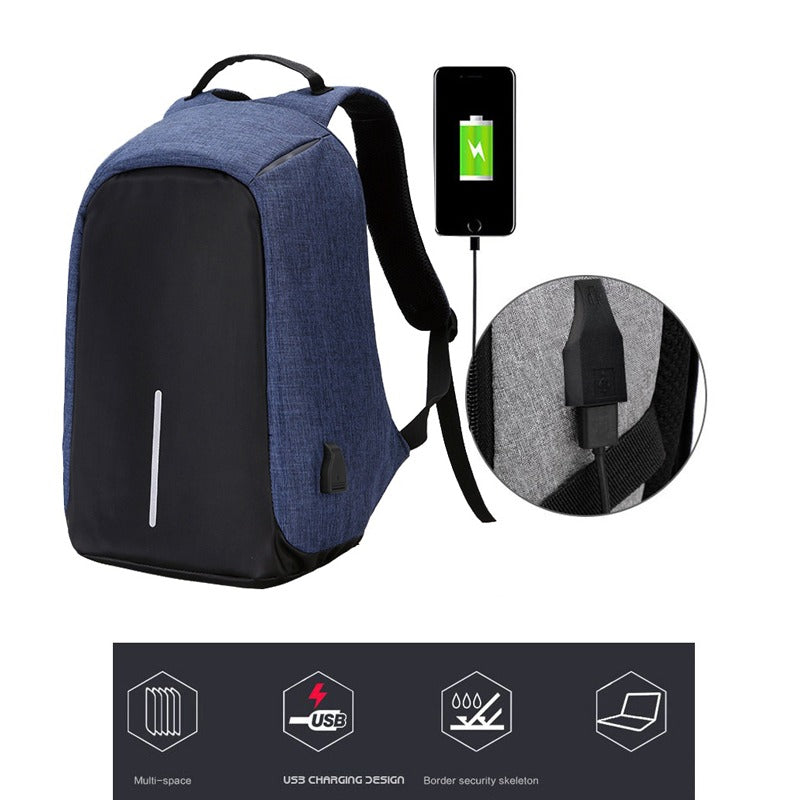 Blue and Black Anti Theft Backpack