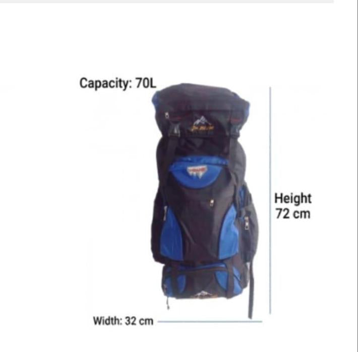 Outdoor Camping Travel Backpack Blue 70L