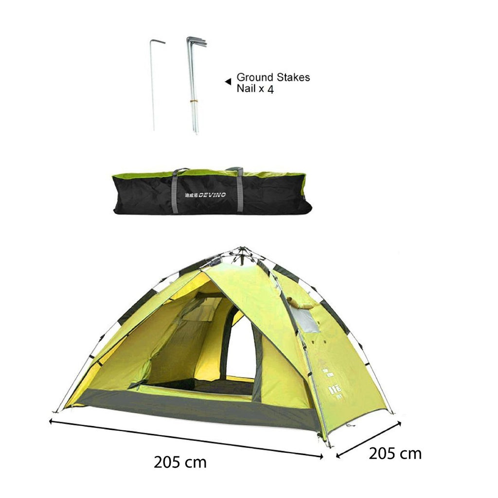 Devino Automatic Tent 205x205cm -Yellow