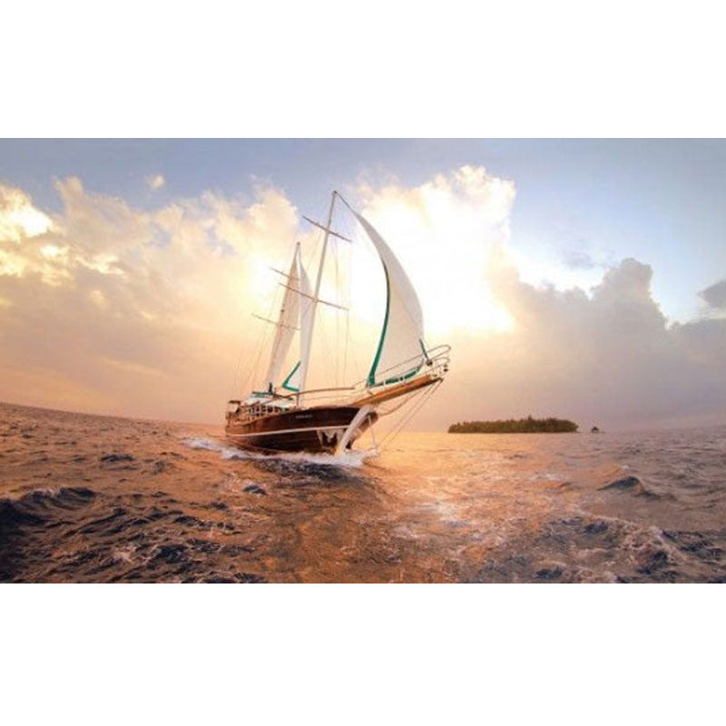 Buy ship-near-an-island-at-sunset-wallpaper preview in Lebanon