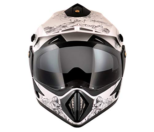Off Road Dull White Black Helmet ISI - SIZE M