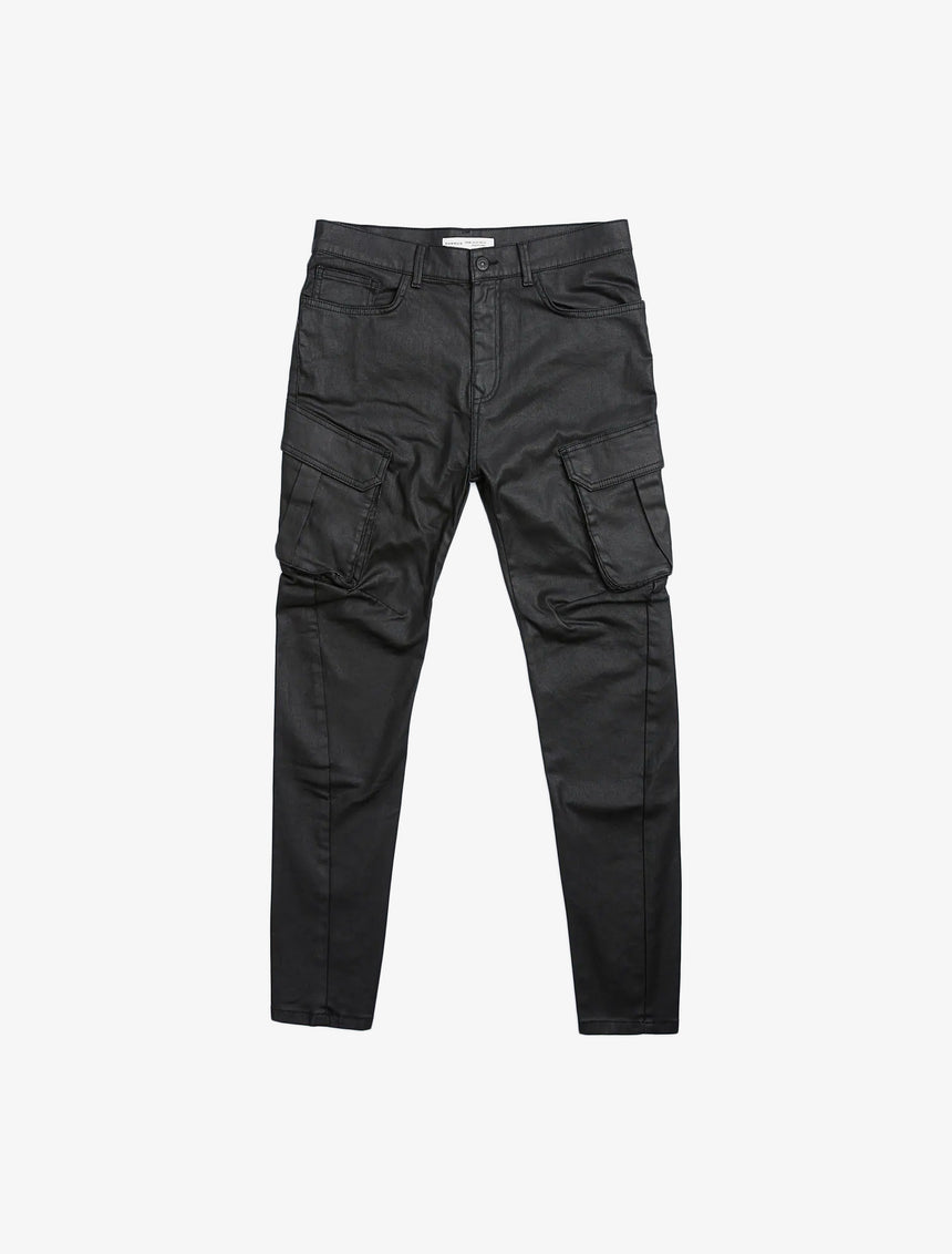 WAXED FINISH CARGO JEANS