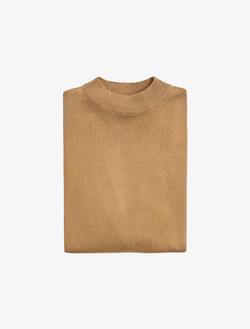 MOCK NECK SWEATER - Taupe Brown