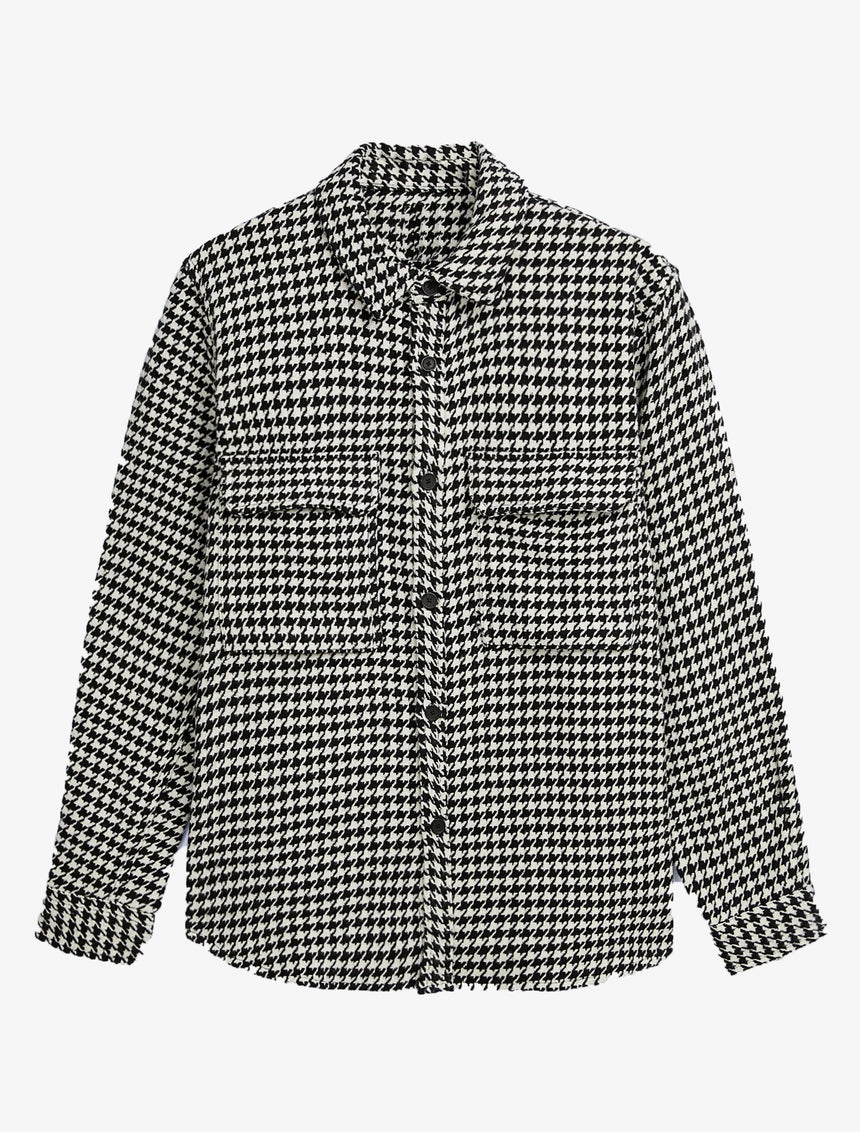 HOUNDSTOOTH TEXTURED OVERSHIRT