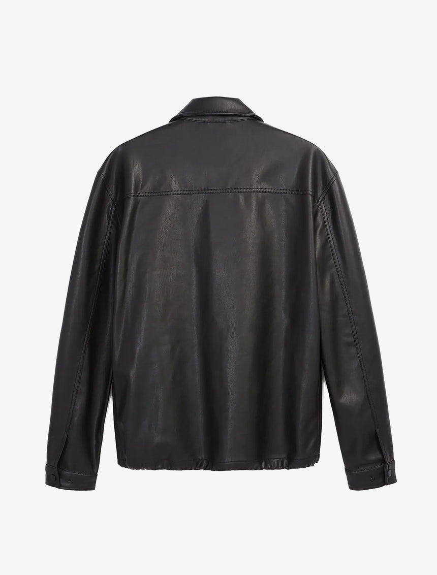 RELAXED FIT FAUX LEATHER JACKET