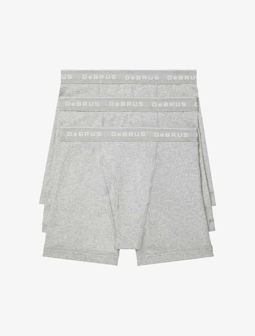 Cotton Classic Fit 3-Pack Boxer Brief - Heather Gray