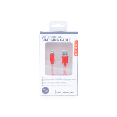 Kikkerland Novelty Red Chevron Cotton Braided Charging Cable