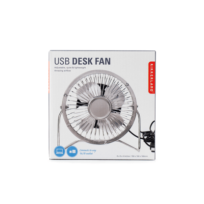 Kikkerland Novelty USB Metal Desk Fan - Silver