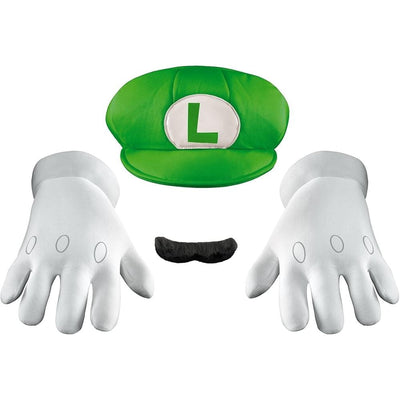 Morphsuits Apparels Nintendo Luigi Adults Green Hat & Moustache Plumber Costume