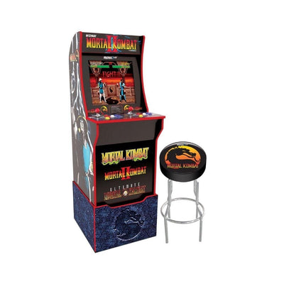 My Arcade Arcade Mortal Kombat with Light-up Marquee, stool and Riser - Bundle