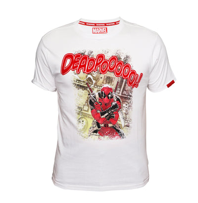Playsmart Apparels R/N TEE W/ CMYK PRINT AND FLOCK PRINT : DEADPOOL - WHITE