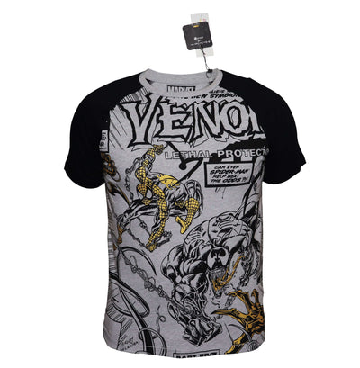 Playsmart Apparels RAGLAN SLEEVE TEE W/METALLIC PRINT : VENOM - Dark Grey