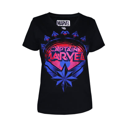 Playsmart Apparels V-Neck Tee W/Discharge & Foil  Print : Captain Marvel - Black