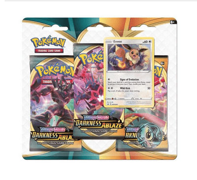 Pokemon TCG Cards SWORD & SHIELD 3 DARKNESS ABLAZE BLISTER 3-PACK
