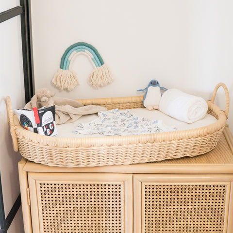 Samuel's Rattan Baby Changing Basket with Cushion