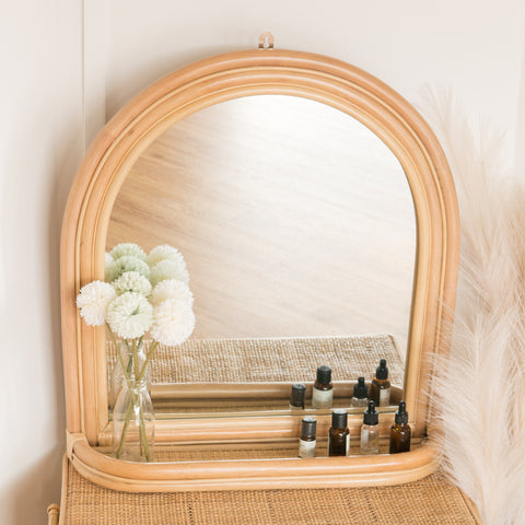 Sophie's Rattan Arch Mirror with Ledge