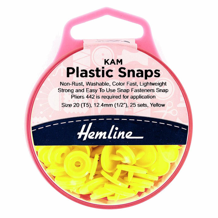KAM Plastic Snaps: 25 x 12.4mm Sets: Yellow-Little Miss Sew n Sew
