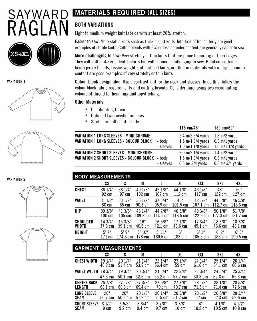 Thread Theory - Sayward Raglan Tissue Pattern-Little Miss Sew n Sew