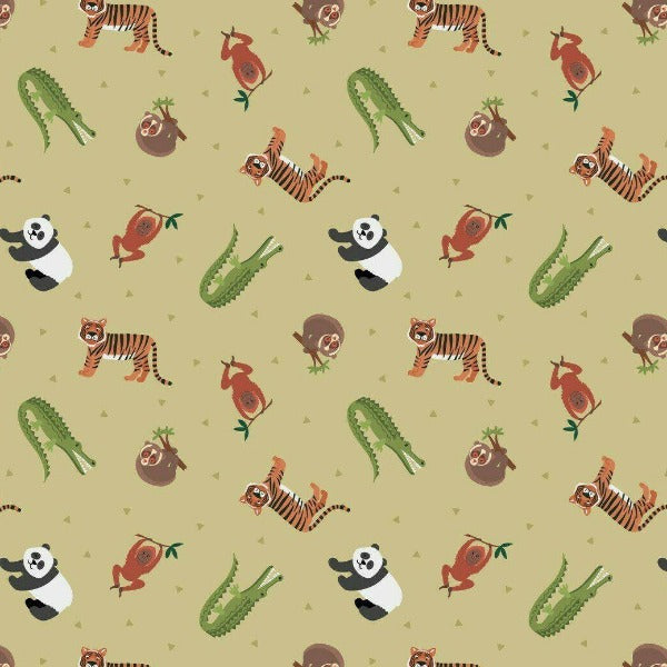 Lewis & Irene - Small Things World Animals - Asian Animals on Light Bamboo Green-Little Miss Sew n Sew