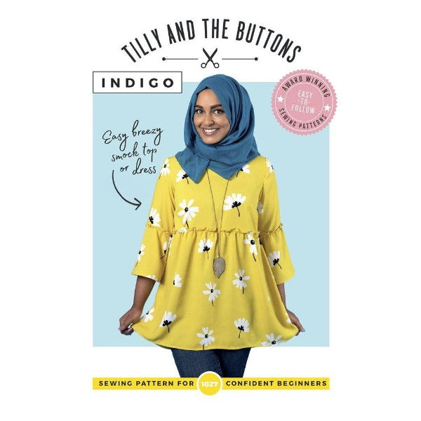 All Set to Sew Tilly and the Buttons - Indigo Smock Top and Dress - Pattern and Fabric Bundle-Little Miss Sew n Sew