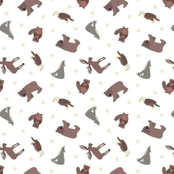 Lewis & Irene - Small Things... World Animals - North American Animals on White-Little Miss Sew n Sew