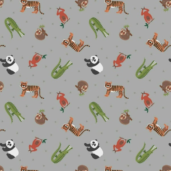 Lewis & Irene - Small Things World Animals - Asian Animals on Grey-Little Miss Sew n Sew