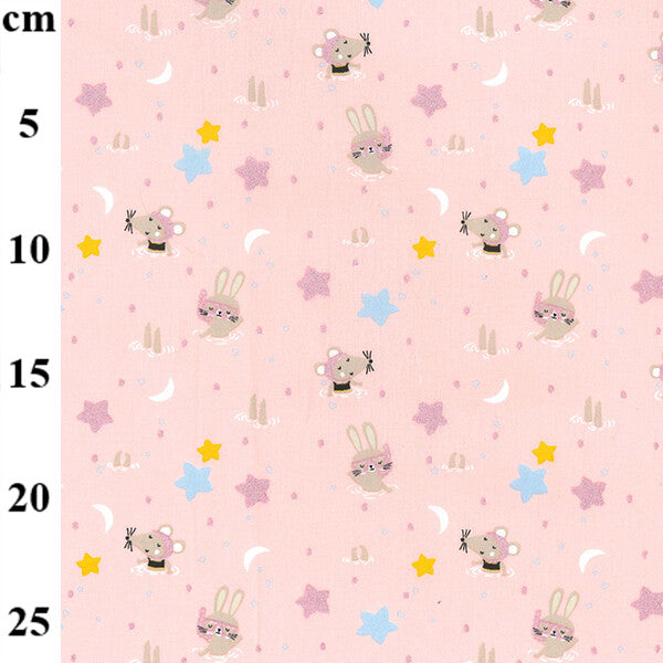 100% Cotton Poplin Print - Swimming mice and bunnies on pink - Extra Wide-Little Miss Sew n Sew